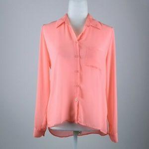Bongo semi sheer vivid coral shirt medium